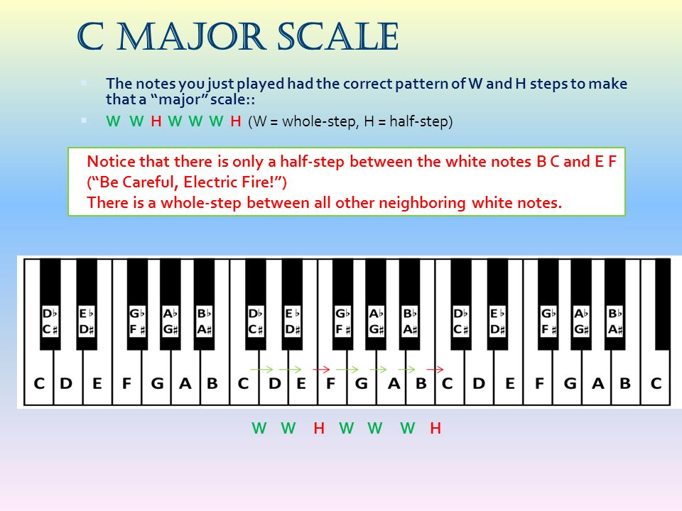 C Major Scale The notes you just played had the correct pattern of W and H steps to make that a major scale::