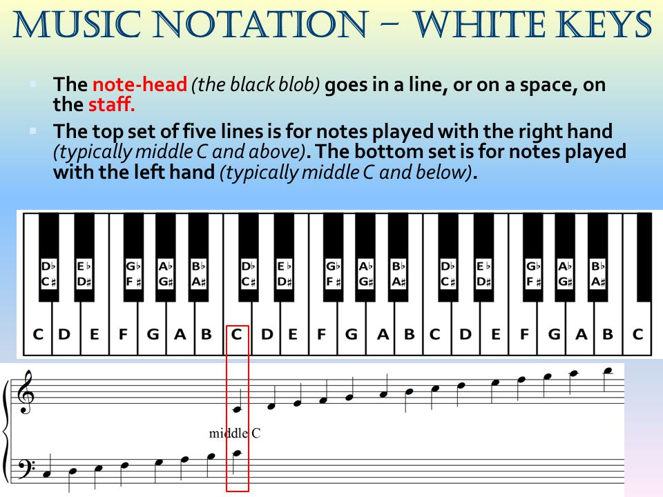Music Notation – White keys