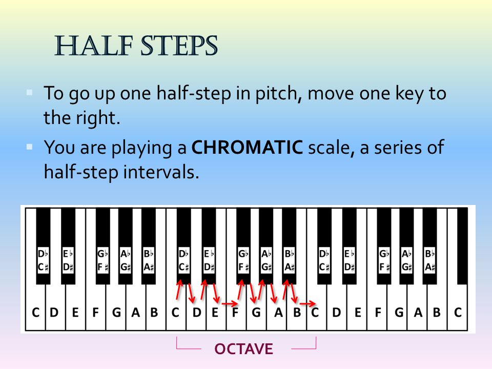 HALF STEPS To go up one half-step in pitch, move one key to the right.