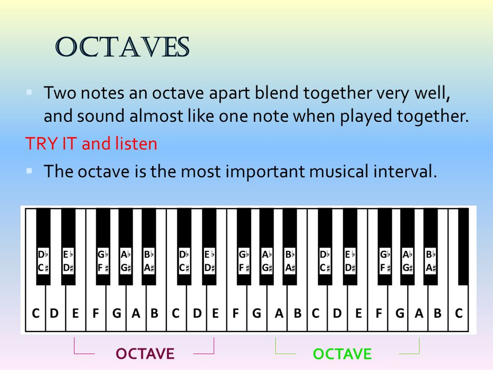 OCTAVES Two notes an octave apart blend together very well, and sound almost like one note when played together.