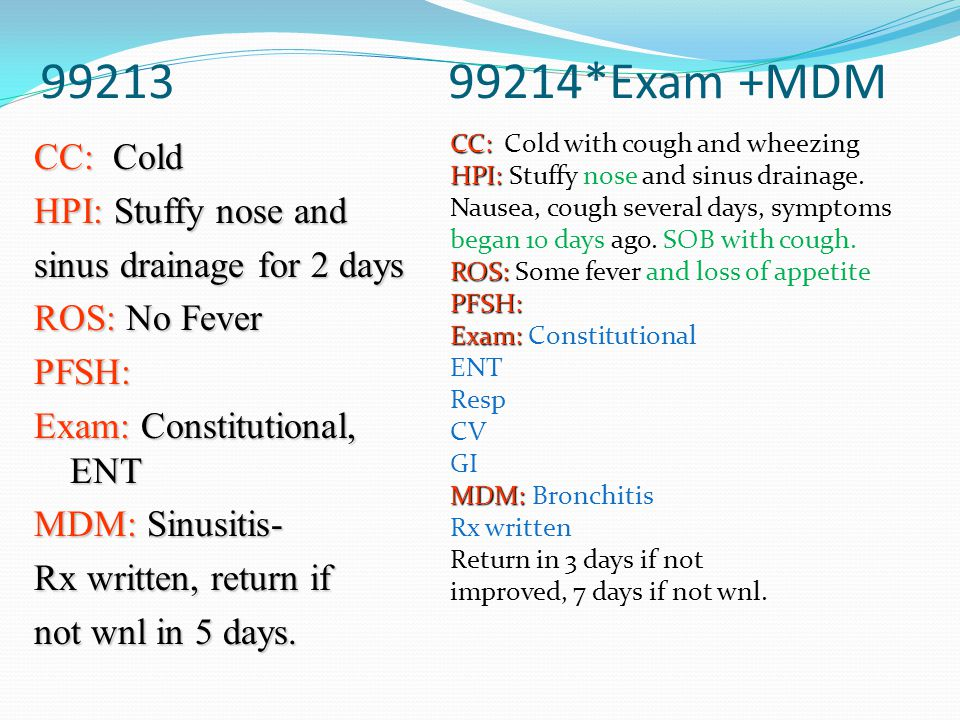 99213 99214*Exam +MDM CC: Cold HPI: Stuffy nose and