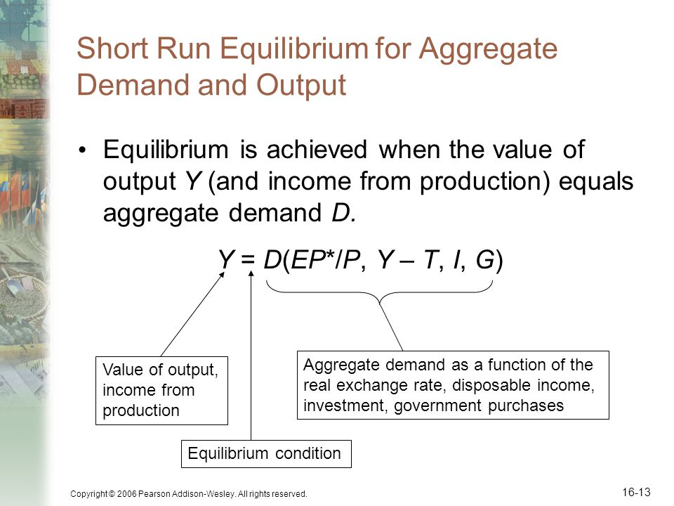 Short Run Equilibrium for Aggregate Demand and Output
