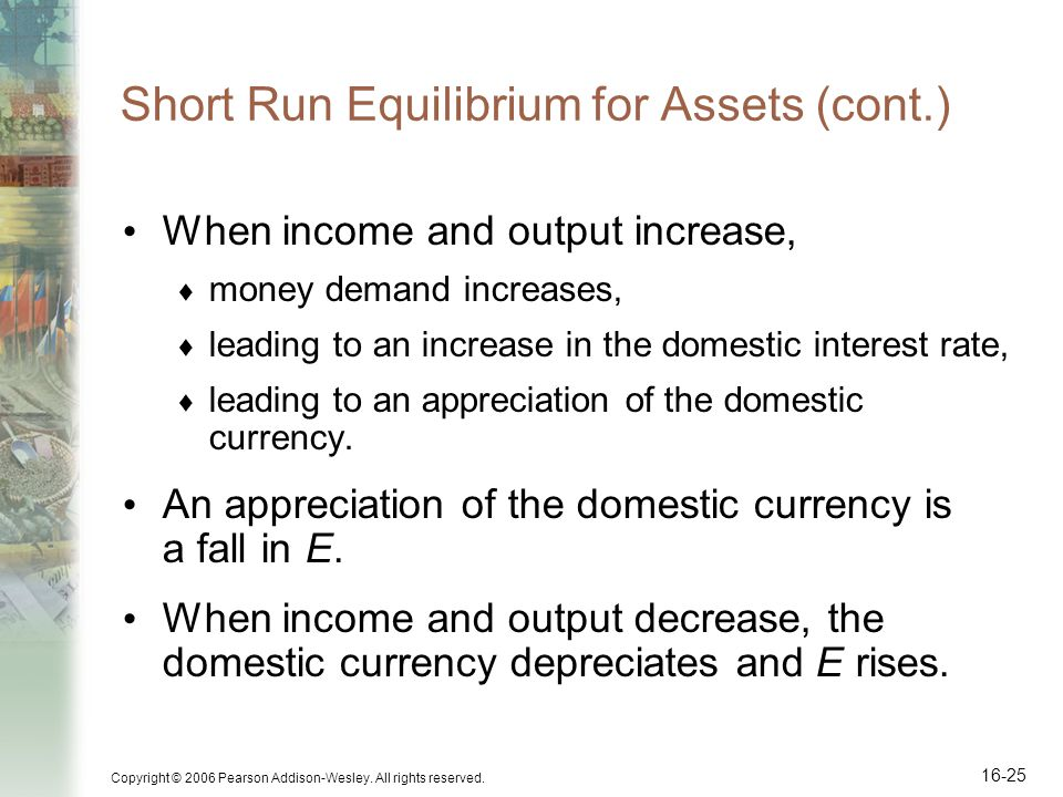 Short Run Equilibrium for Assets (cont.)