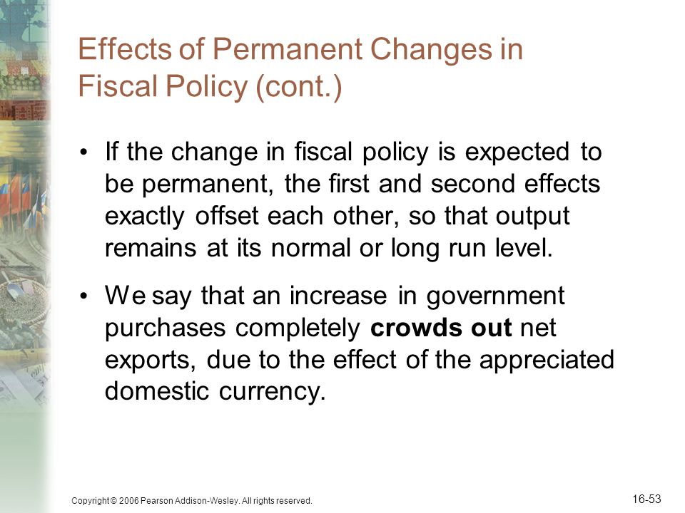 Effects of Permanent Changes in Fiscal Policy (cont.)