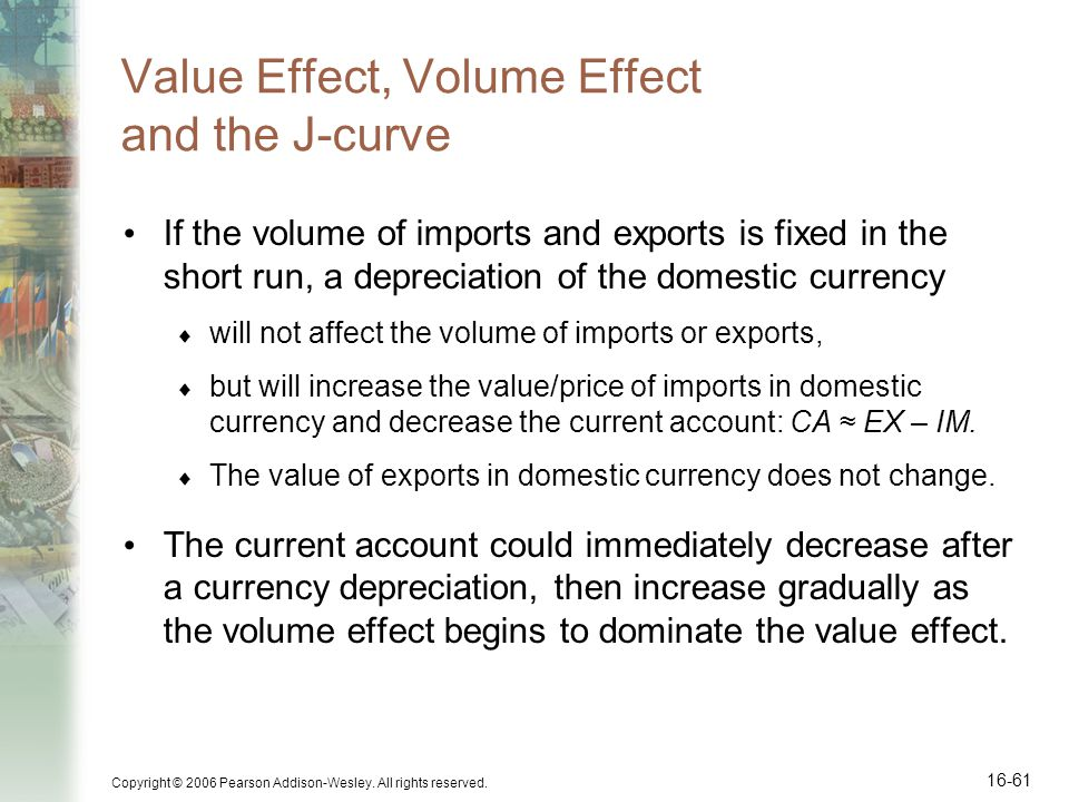 Value Effect, Volume Effect and the J-curve