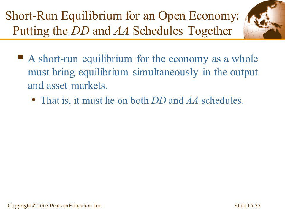 Short-Run Equilibrium for an Open Economy: Putting the DD and AA Schedules Together