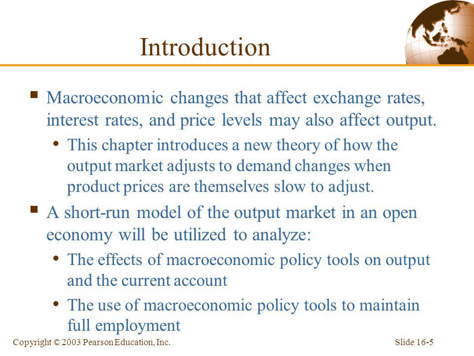 Introduction Macroeconomic changes that affect exchange rates, interest rates, and price levels may also affect output.