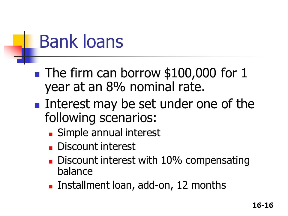 Bank loans The firm can borrow $100,000 for 1 year at an 8% nominal rate. Interest may be set under one of the following scenarios: