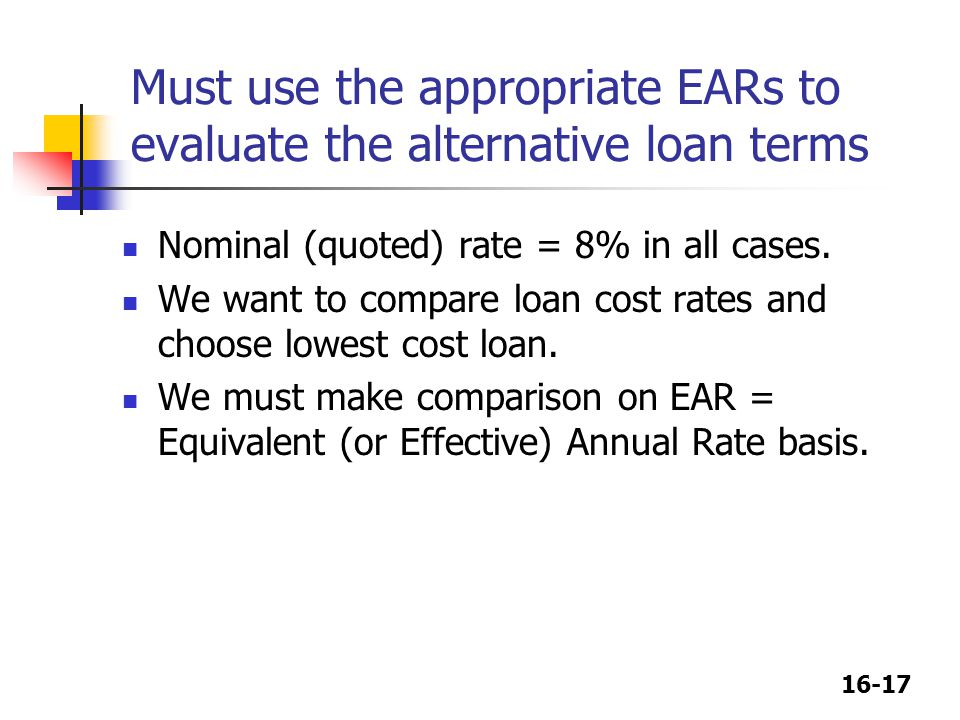 Must use the appropriate EARs to evaluate the alternative loan terms