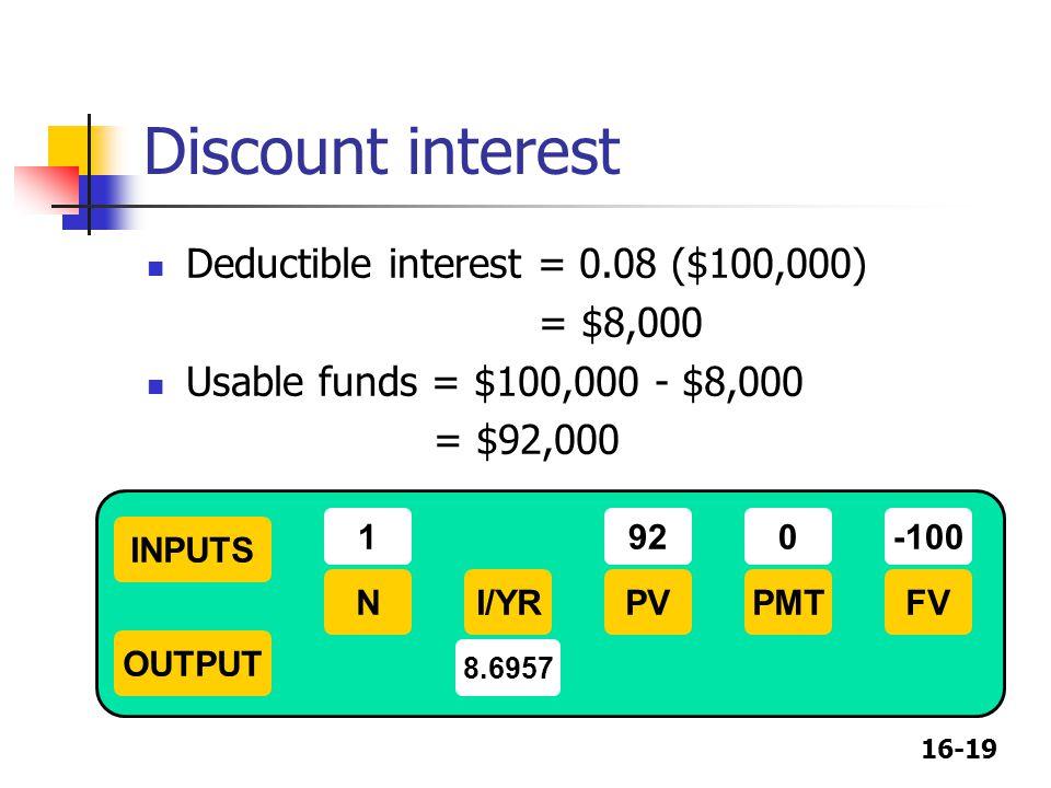 Discount interest Deductible interest = 0.08 ($100,000) = $8,000