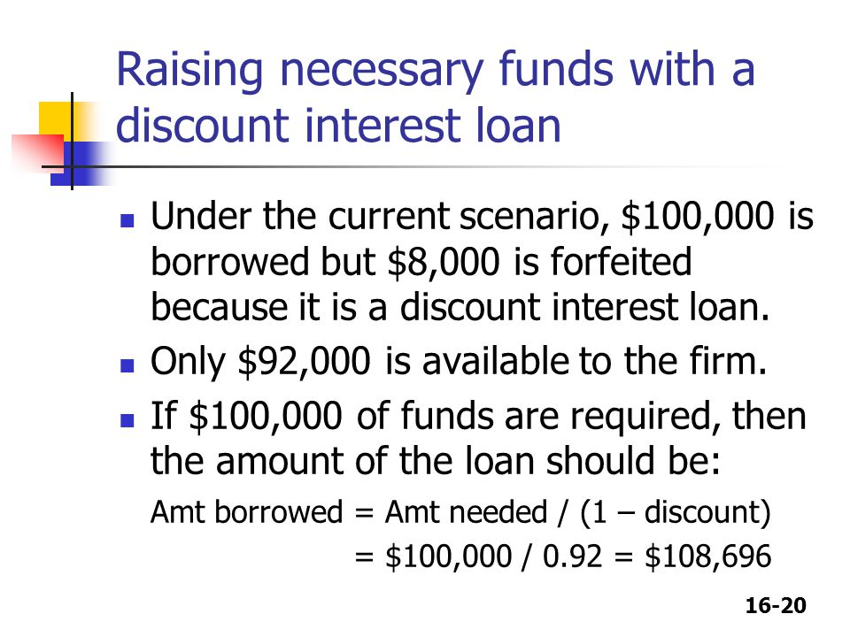 Raising necessary funds with a discount interest loan