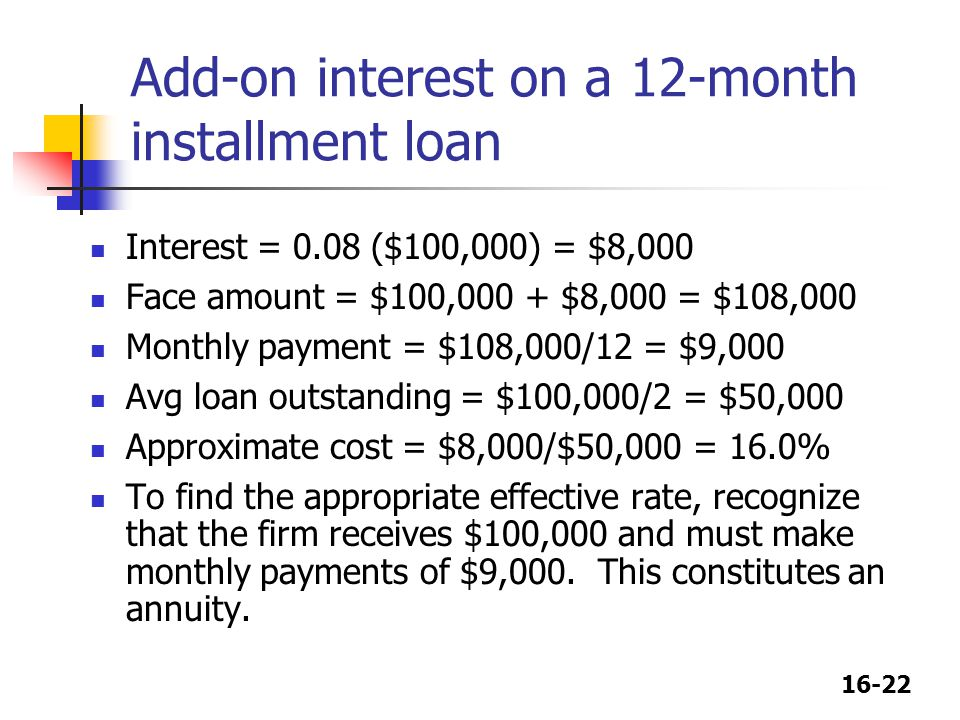 Add-on interest on a 12-month installment loan