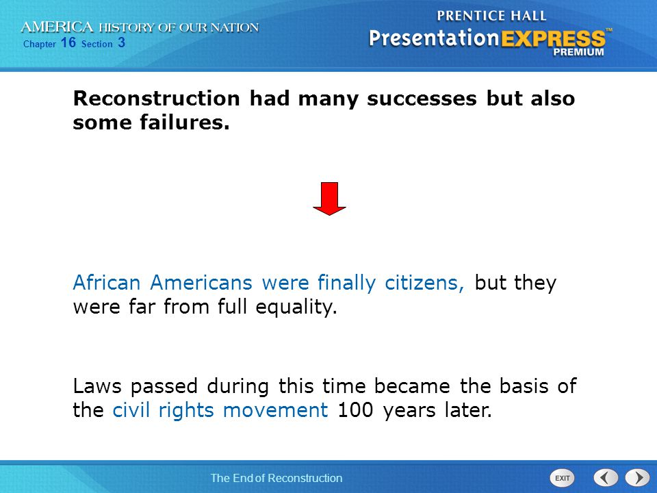 Reconstruction had many successes but also some failures.
