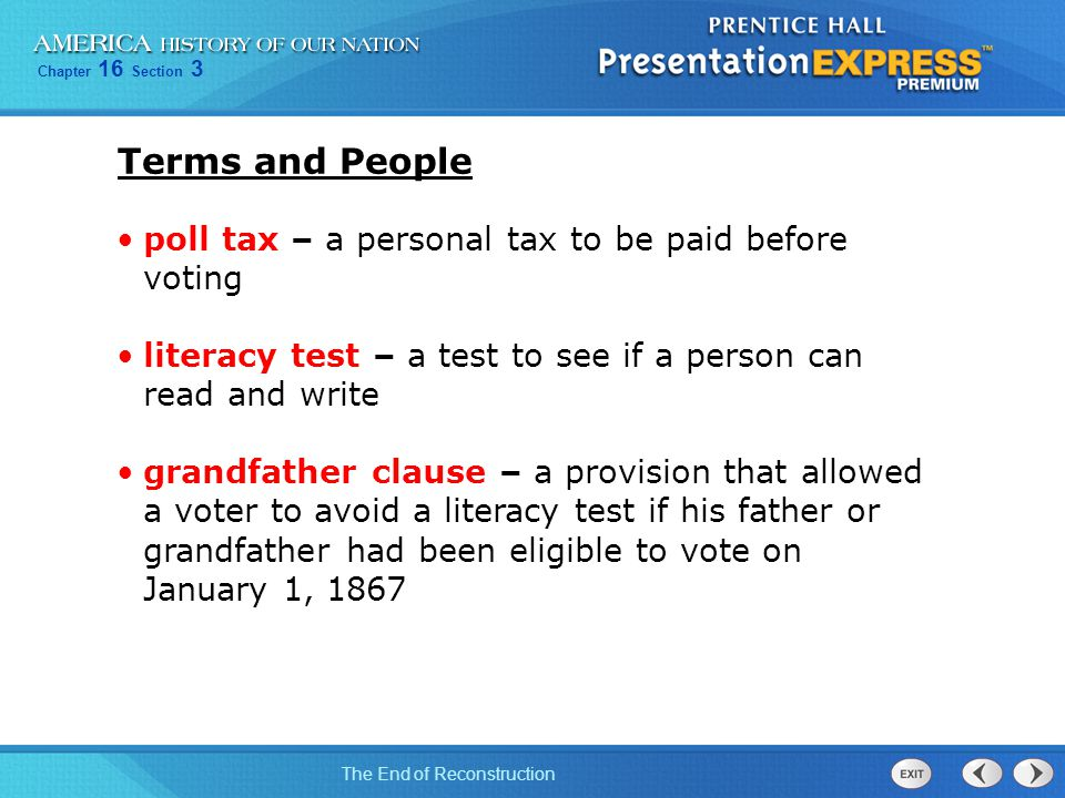 Terms and People poll tax – a personal tax to be paid before voting