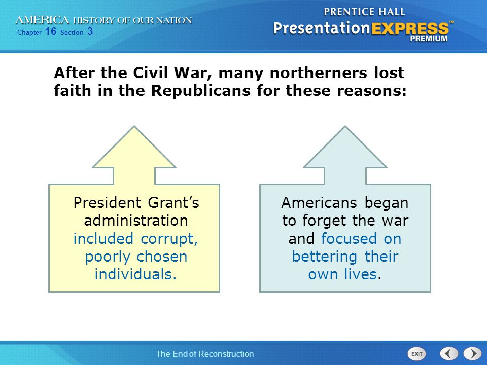 After the Civil War, many northerners lost faith in the Republicans for these reasons: