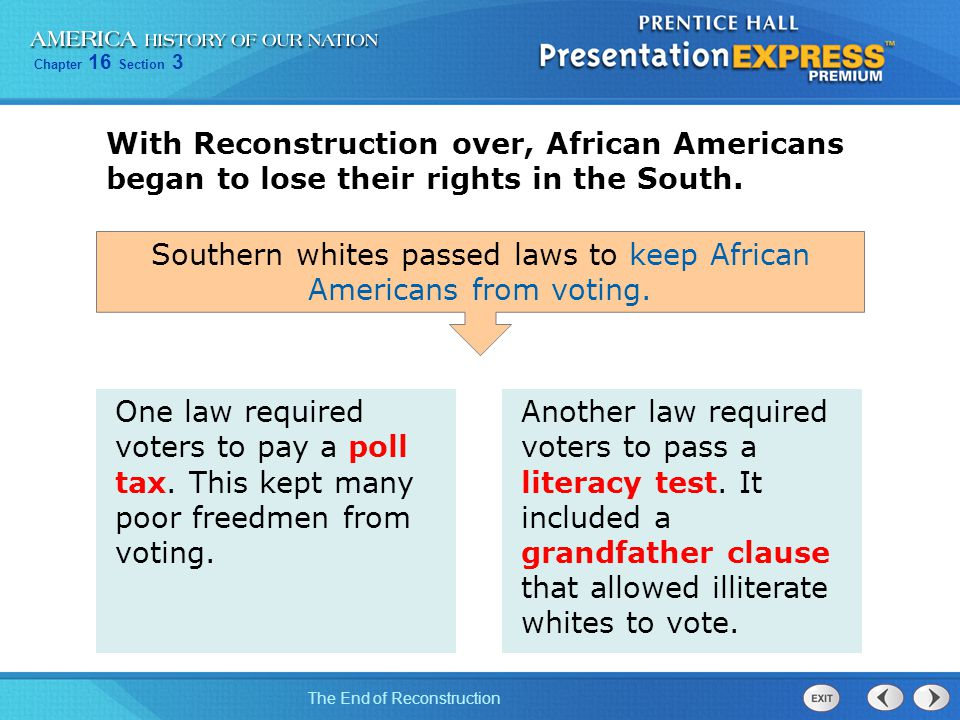 Southern whites passed laws to keep African Americans from voting.