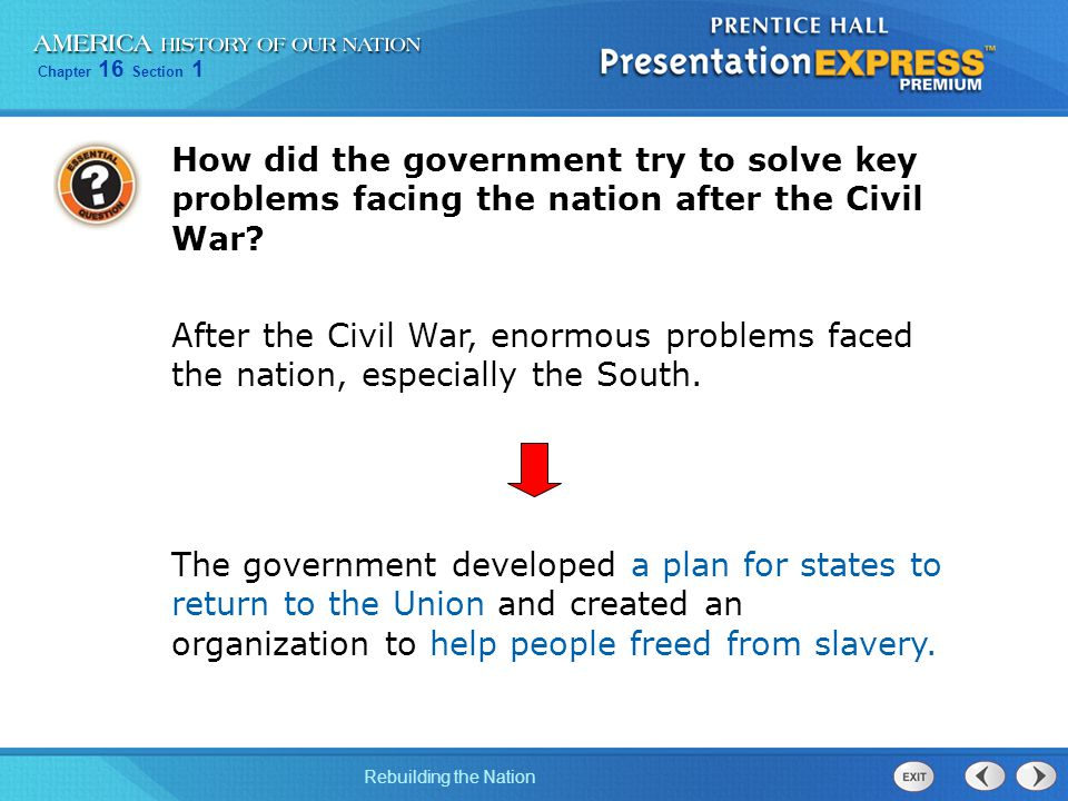 How did the government try to solve key problems facing the nation after the Civil War