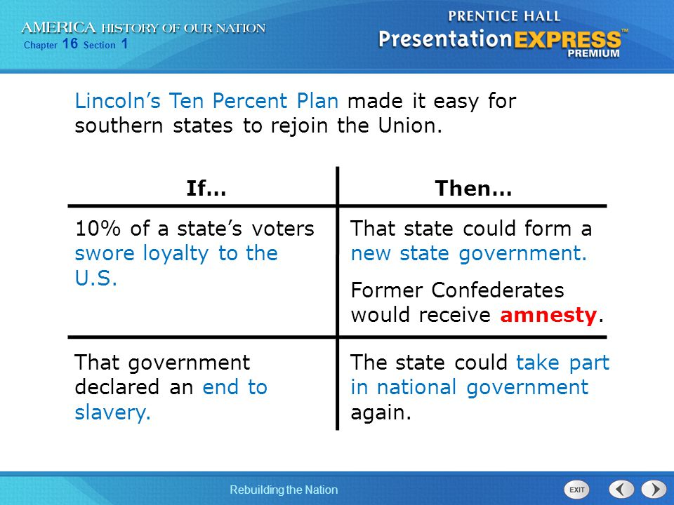 Lincoln's Ten Percent Plan made it easy for southern states to rejoin the Union.