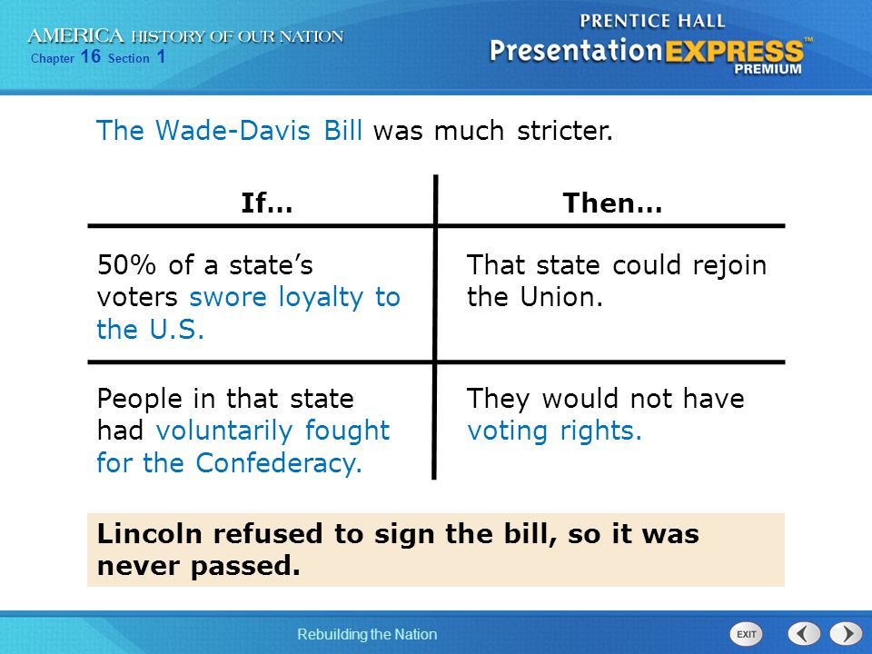 The Wade-Davis Bill was much stricter.