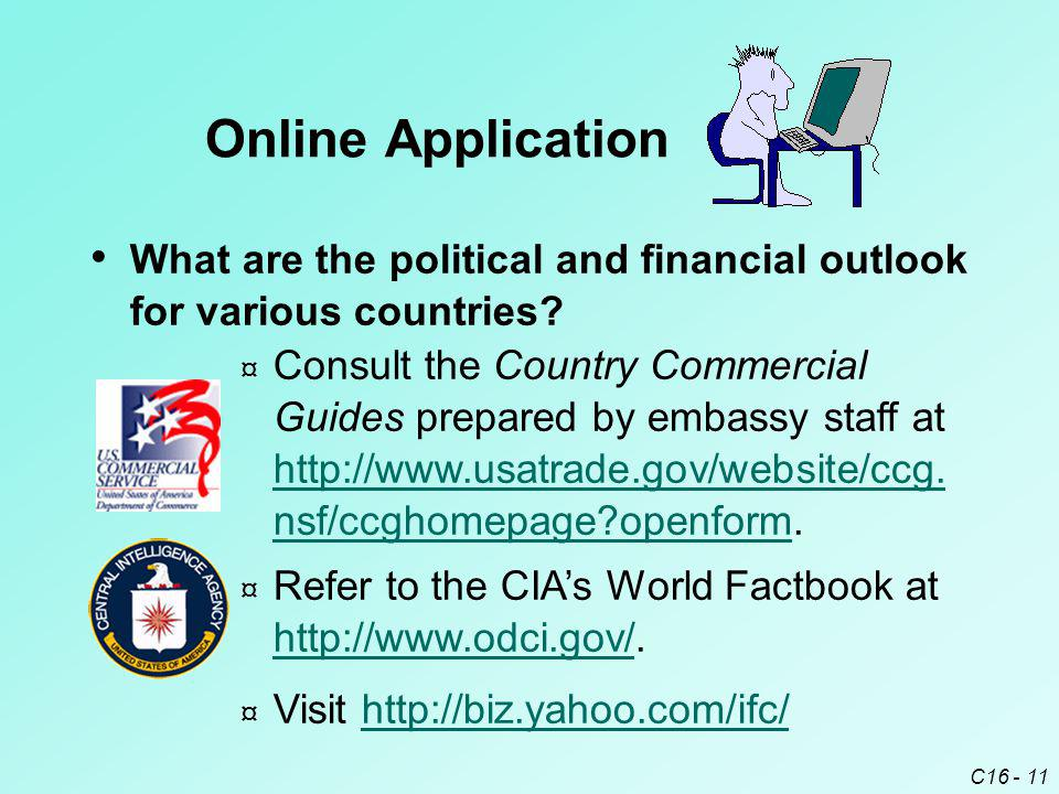 Online Application What are the political and financial outlook for various countries