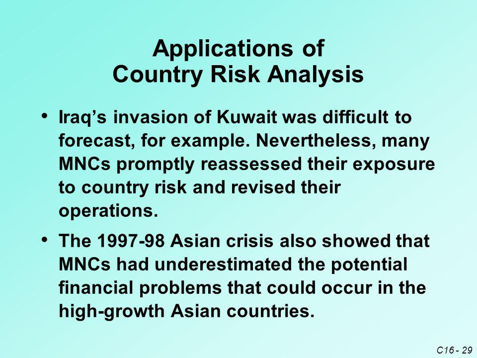 Applications of Country Risk Analysis