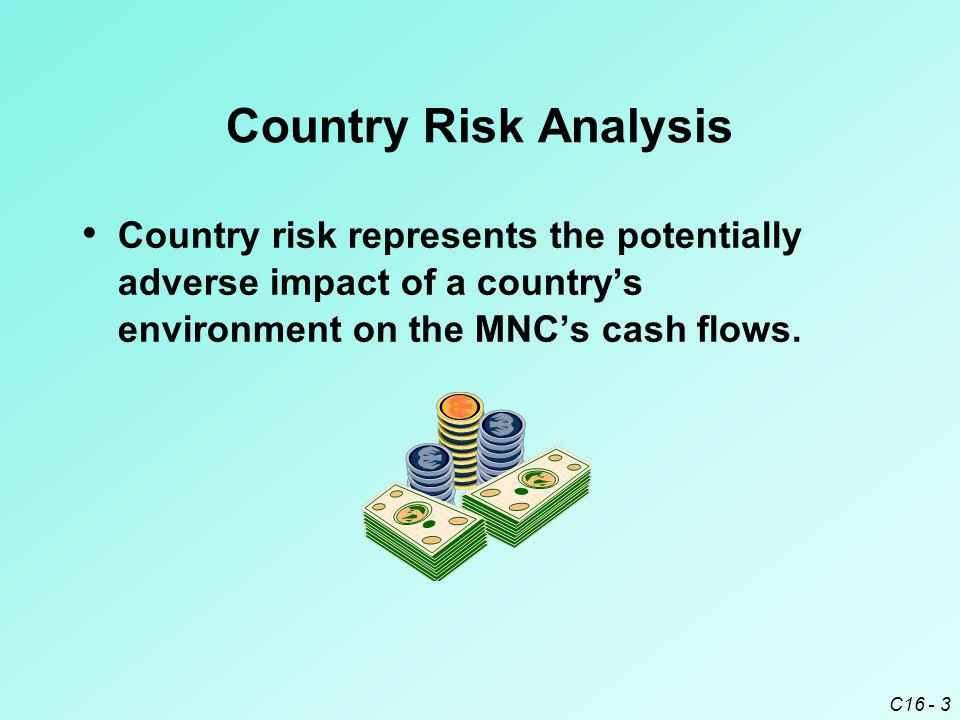 Country Risk Analysis Country risk represents the potentially adverse impact of a country's environment on the MNC's cash flows.