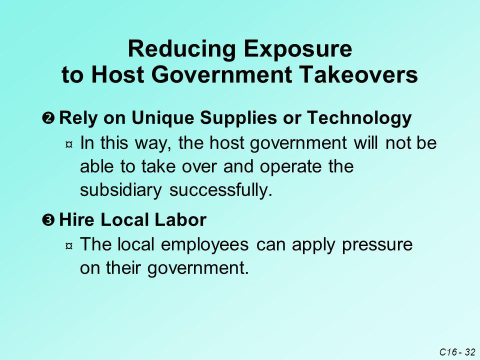 Reducing Exposure to Host Government Takeovers