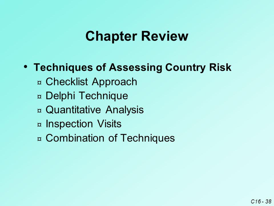 Chapter Review Techniques of Assessing Country Risk Checklist Approach
