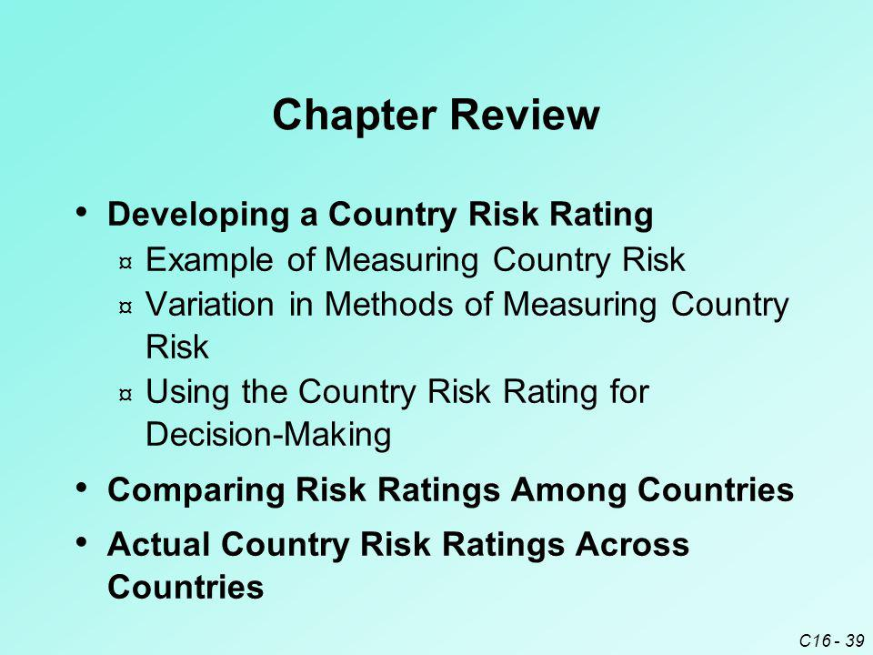 Chapter Review Developing a Country Risk Rating