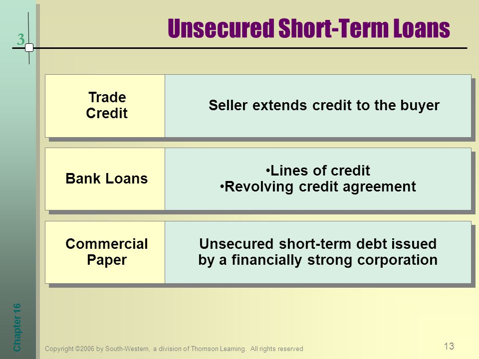 Unsecured Short-Term Loans