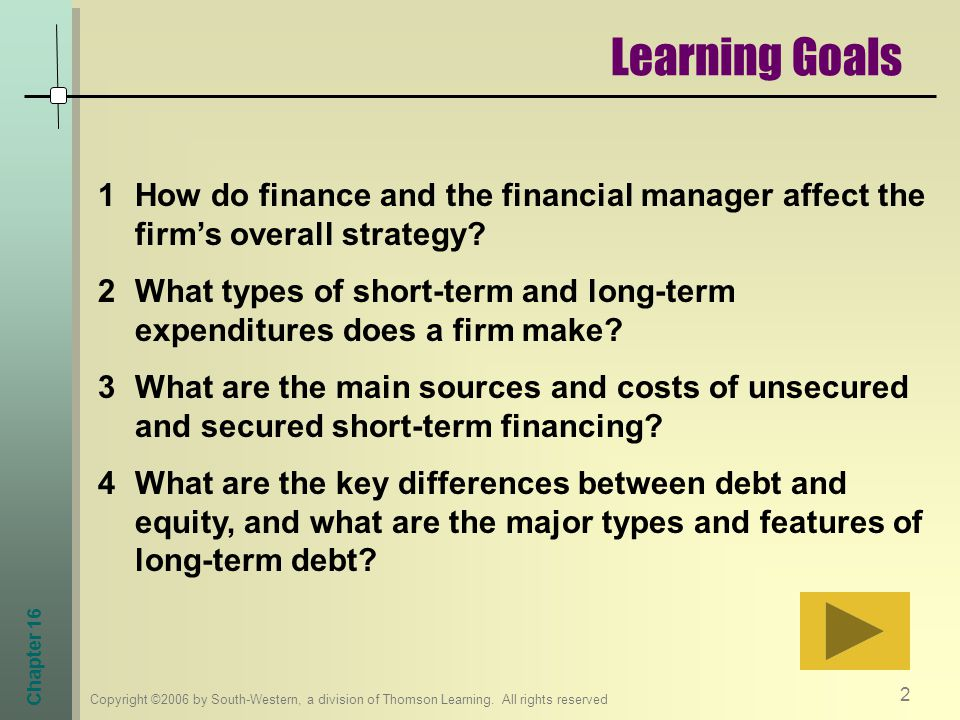 Learning Goals How do finance and the financial manager affect the firm's overall strategy
