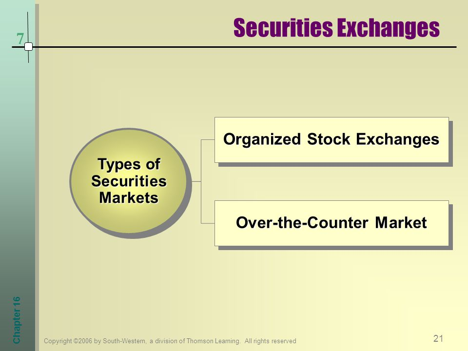 Securities Exchanges 7 Organized Stock Exchanges