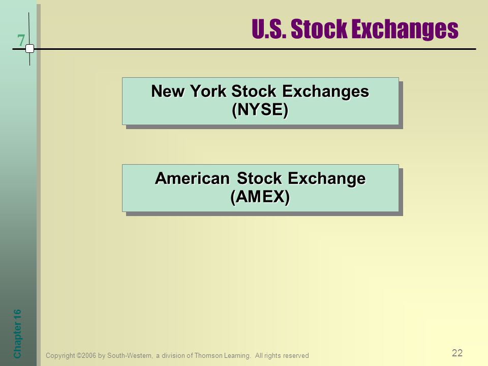 American Stock Exchange (AMEX) New York Stock Exchanges (NYSE)