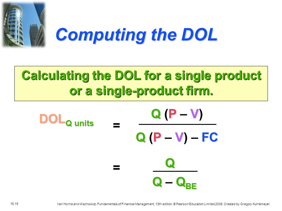 Calculating the DOL for a single product or a single-product firm.