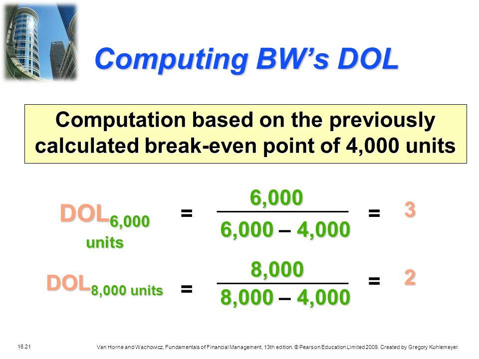 Computing BW's DOL DOL6,000 units