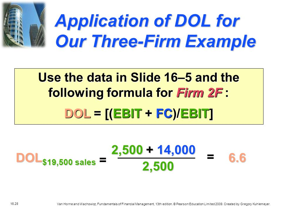 Application of DOL for Our Three-Firm Example