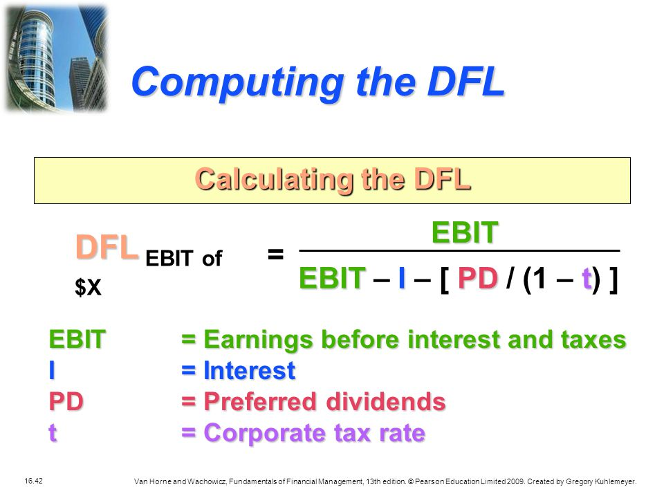 Computing the DFL DFL EBIT of $X Calculating the DFL EBIT =