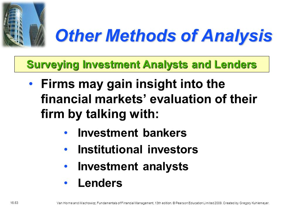 Surveying Investment Analysts and Lenders