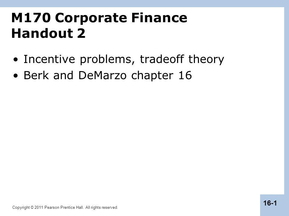 M170 Corporate Finance Handout 2
