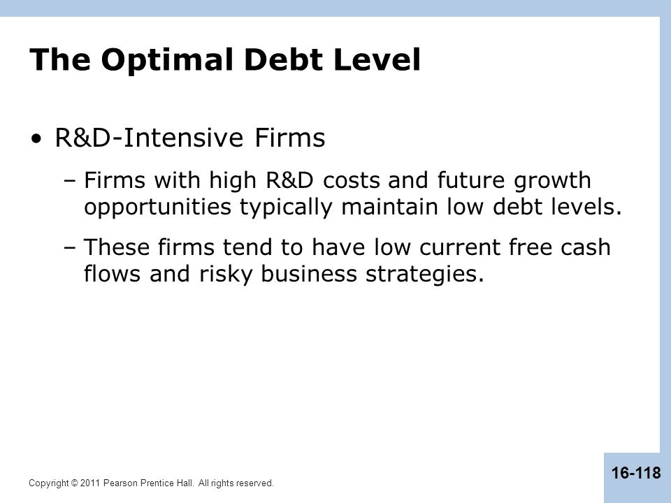 The Optimal Debt Level R&D-Intensive Firms
