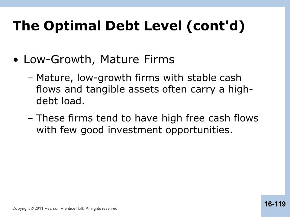 The Optimal Debt Level (cont d)