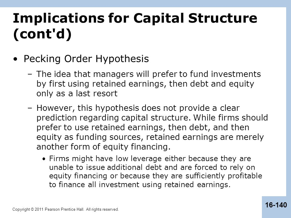 Implications for Capital Structure (cont d)