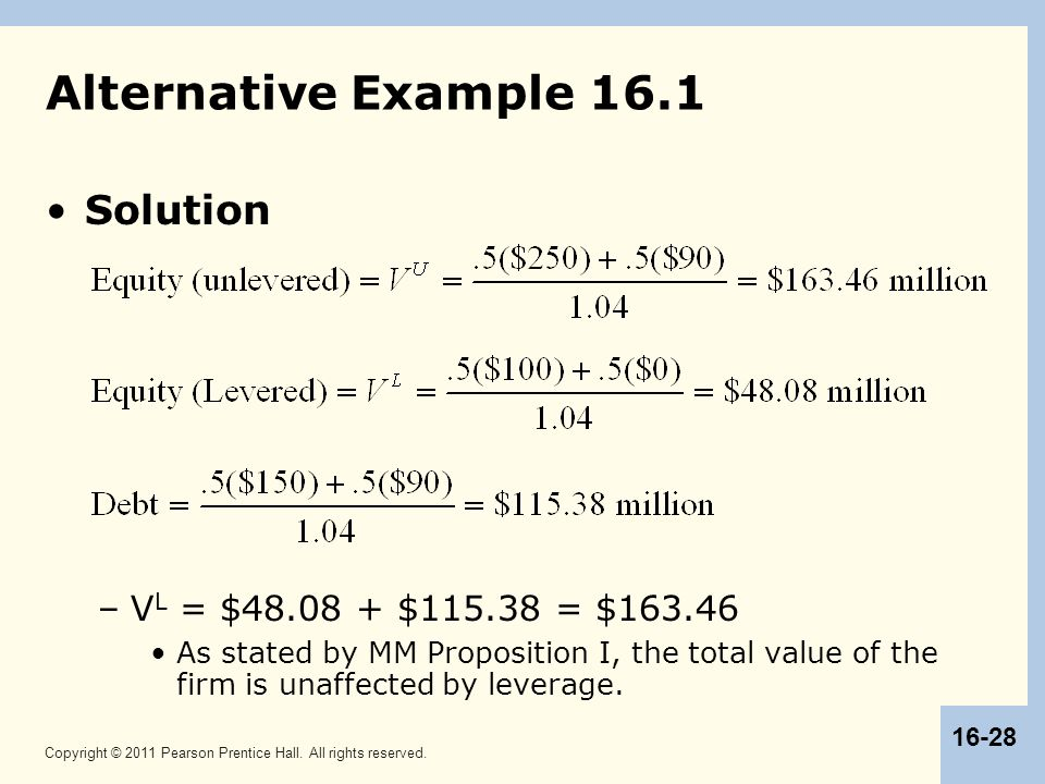 Alternative Example 16.1 Solution VL = $48.08 + $115.38 = $163.46