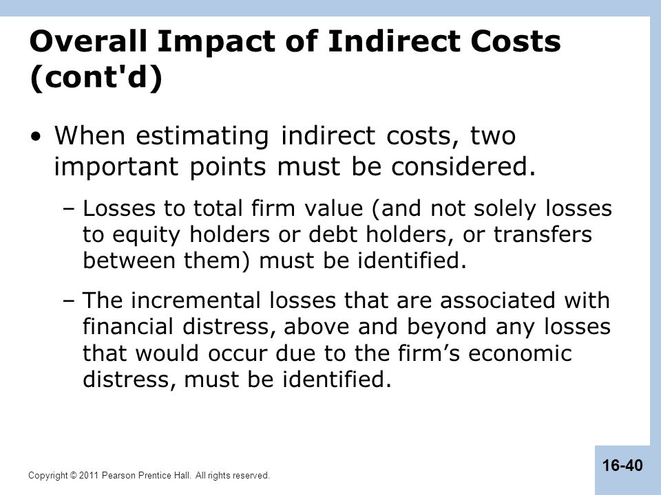 Overall Impact of Indirect Costs (cont d)