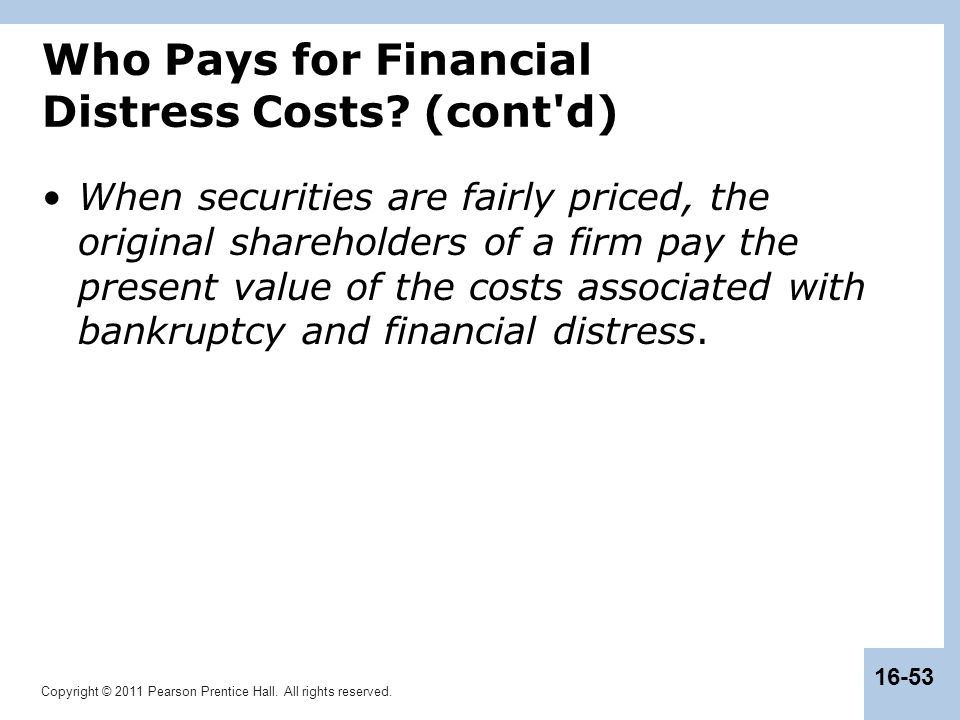 Who Pays for Financial Distress Costs (cont d)