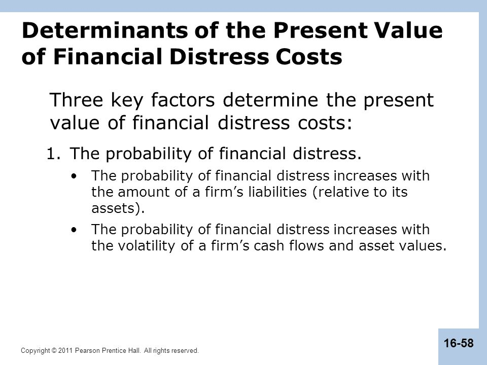 Determinants of the Present Value of Financial Distress Costs