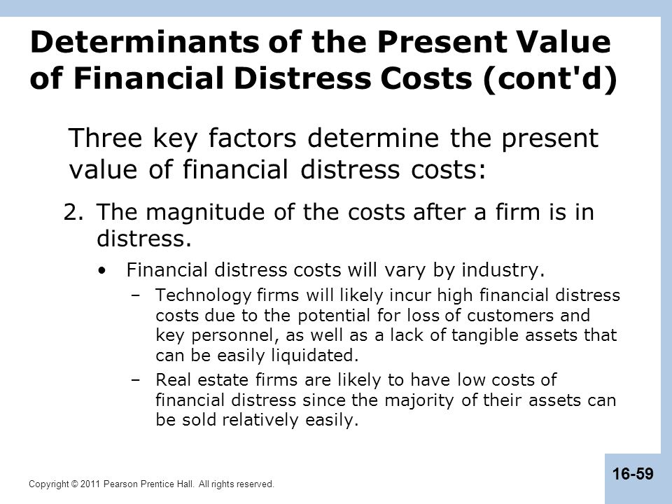 Determinants of the Present Value of Financial Distress Costs (cont d)