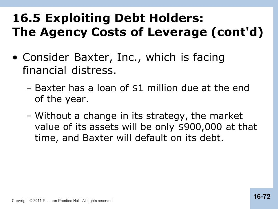 16.5 Exploiting Debt Holders: The Agency Costs of Leverage (cont d)