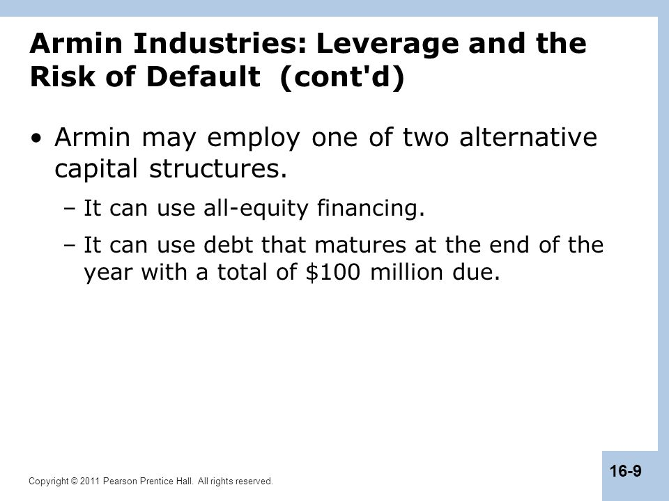 Armin Industries: Leverage and the Risk of Default (cont d)