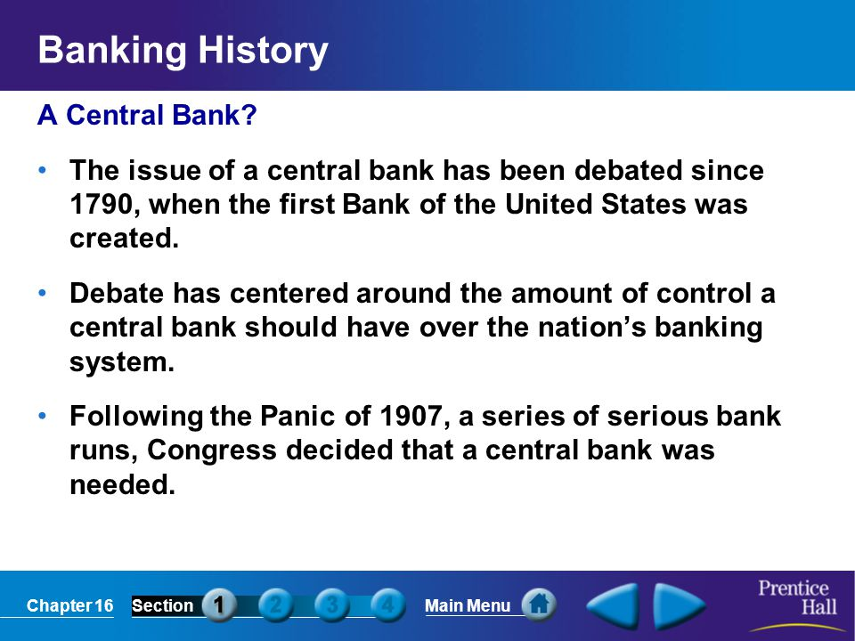 Banking History A Central Bank
